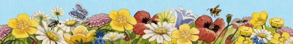 Blumenwiese mit Krafttieren